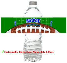 Personalized Water Bottle Labels Boys Girls Children Kids American Football Birthday Party Favors Customizable Custom Stickers by AlyaDesignStudio on Etsy https://www.etsy.com/listing/223645822/personalized-water-bottle-labels-boys