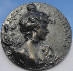 """Marked French""""Printemps""""Edwardian 1940s Pewter Vintage Antique Picture Button 