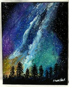 IN STOCK   Forest MIlky way forest painting space art by ThisArtToBeYours, $30
