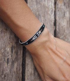 Black mix seed beaded Single Wrap bracelet, layer bracelet, beaded bracelet, friendship bracelet by on Etsy Macrame Bracelets, Jewelry Bracelets, Ankle Braclets, Arm Hair, Bracelet Wrap, Layered Bracelets, Loom Beading, Leather Cord, Friendship Bracelets