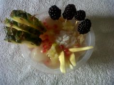 This dish is made from coconut water with Rambutan with pomegranate with pineapple with fig with guava with blackberry  with coconut with lemon