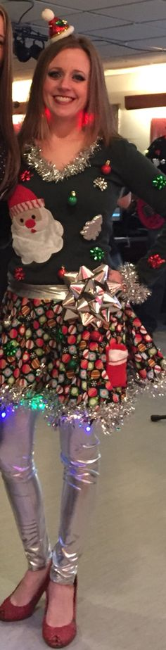Ugly Christmas sweater?! Why not an ugly Christmas outfit with a light up skirt! Tacky Christmas Sweater! DIY Tacky Christmas Outfit! Light up Christmas earrings! Sparkly red shoes!