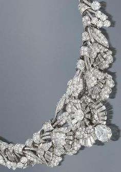 Detail: Art Deco diamond tiara/necklace/bracelet, circa 1935. Almost 39 carats of diamonds wearable in 3 different ways. Via Diamonds in the Library.