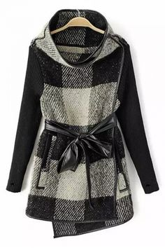 Love this Coat Design! Black and White Oversized Plaid Grids Stand Collar Long Outerwear #Black_and_White #Oversized #Plaid #Faux #Leather #Belted #Outerwear #Fall #Winter #Fashion