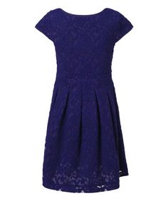Look what I found on #zulily! Blue Floral Lace Cap-Sleeve Dress - Toddler & Girls by Richie House #zulilyfinds