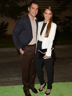 Big fan of Jessica's ensemble here from deep side part pony, to sharp white cropped jacket and black pants. Love the shoes. They're J.Crew