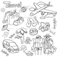 Illustration of Hand drawn travel doodles. vector art, clipart and stock vectors. Doodle Drawings, Doodle Art, Travel Doodles, Buch Design, Diy Design, Travel Drawing, Sketch Notes, Illustration, Bullet Journal Inspiration