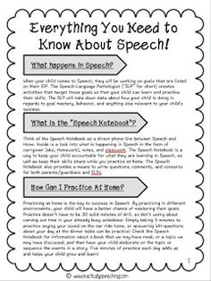 Practically Speeching: Everything You Need to Know About Speech: A Parent Hand-out (FREEBIE)