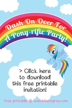 Free printable invitation set with Thank You cards for a My Little Pony Rainbow Dash party! You can customize by adding your text over the white cloud. (Ps there's no watermark on the printable) Rainbow Dash Birthday, Rainbow Dash Party, Rainbow Birthday Invitations, My Little Pony Birthday Party, Rainbow Parties, Birthday Fun, Birthday Ideas, Birthday Parties, Birthday Sayings
