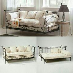 Wrought iron daybed with cushions. Wrought iron daybed with cushions. Iron Furniture, Home Furniture, Daybed Room, Wrought Iron Decor, Guest Room Office, New Room, Interior Design Living Room, Home Furnishings, Bedroom Decor
