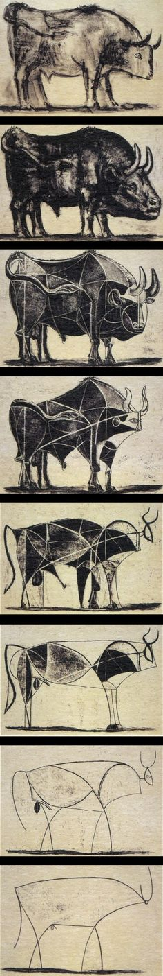 bulls - picasso Shows development I remember my arts teacher showing us this some years ago! So many ways to paint one thing Art Picasso, Picasso Drawing, Picasso Paintings, Guernica, Portraits Cubistes, Arte Latina, Cubist Movement, Oeuvre D'art, Art History