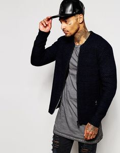 e7640b2a3ad Religion Knitted Bomber Jacket at asos.com