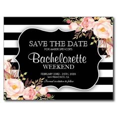 Floral Bachelorette Weekend Save The Date Postcard