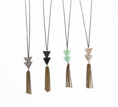 Silver Jasper Geometric Triangle Necklace with Chain Fringe //  Bohemian Fringe //  Long Simple Tassel Necklace
