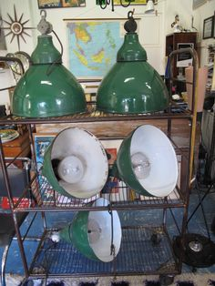 Vintage Industrial Green Enamel Factory Light Shade  #lifeinstyle #greenwithenvy