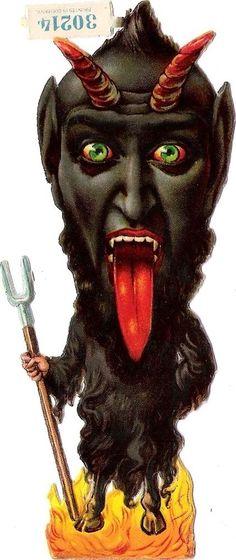Oblaten Glanzbild scrap die cut  Krampus Teufel  13 cm  devil  L & B 30214