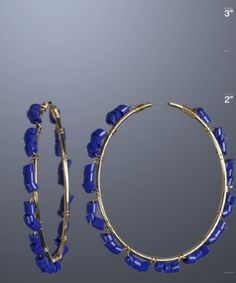 Lapis Bugle Bead & Gold Hoop Earring  from Blue Fly only $26.99!