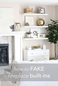Modern-meets-traditional living room tour with lots of white and brass accents. - Modern-meets-traditional living room tour with lots of white and brass accents. Plus how to fake bu - Shelves Around Fireplace, Fireplace Bookcase, Fireplace Built Ins, Fireplace Wall, Living Room With Fireplace, Furniture Around Fireplace, Fake Fireplace, White Fireplace, Fireplace Ideas