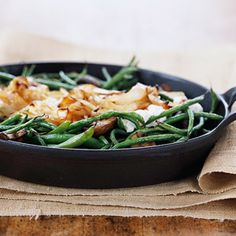 Green Bean Bake Revisited  \ We updated this favorite side dish casserole recipe with fresh onion and baby portobello mushrooms.