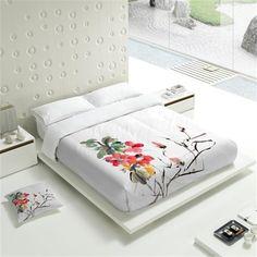 parure de lit hANA - Tsuki Draps Design, Bed Sheet Painting Design, Fabric Painting On Clothes, Sheet Curtains, Tropical Bedroom Decor, Bed Cover Design, Designer Bed Sheets, Painted Beds, Fabric Paint Designs