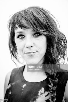 Image converted to Black and White) French Singer ZAZ aka Isabelle Geoffroy poses during a photo session on July 4, 2015 in Berlin, Germany.