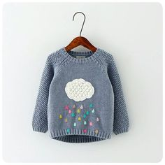 Girl Cloud Raindrops Sweater
