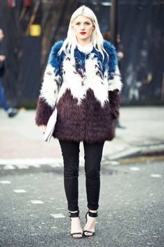 Try bold, bright fur rather than plain black or brown #streetstyle