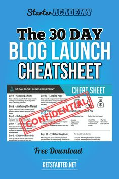 Download the 30 Day Blog Launch Cheatsheet and get the detailed 30 day plan for researching, starting, and building a powerful Authority blog.  Get the day by day, step by step tasks required to setup your blog now!