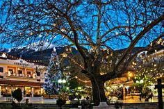 This photo from Evritania, Central Greece is titled 'Christmas in Karpenisi'. Christmas Feeling, Christmas Lights, Christmas In Greece, Places In Greece, Greek Isles, Athens, Cool Photos, Amazing Photos, Places Ive Been