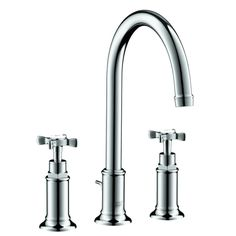 Hansgrohe 16513831 Polished Nickel Axor Montreux Bathroom Faucet Widespread Faucet with Cross Handles Widespread Bathroom Faucet, Lavatory Faucet, Bathroom Sink Faucets, Bathroom Fixtures, Bathrooms, Condo Bathroom, Master Bathroom, Classic Bathroom, Bathroom Collections