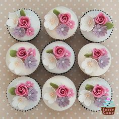 Rose and Blossom 50th Cupcakes | Flickr - Photo Sharing!