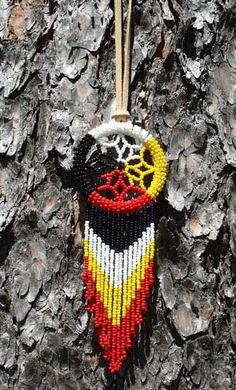 Beaded dreamcatcher by Ojibwe craftwoman Carolyn Pickford