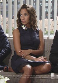 Lily's navy shirtdress with embellished collar on The Young and the Restless.  Outfit Details: https://wornontv.net/72892/ #TheYoungandtheRestless