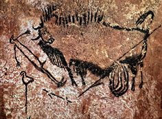 Cave art in the Lascaux Cave in the Dordogne region, southwestern France. Dated to the Upper Palaeolithic period. It depicts a wounded aurochs bull, a man and. Ancient History, Art History, Ancient Art, Lascaux Cave Paintings, Gaule Romaine, Summer Triangle, Cro Magnon, Red Pigment, Religion