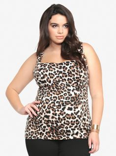 4eba6306e058 This soft ponte bustier is wild with an allover leopard print and a back  keyhole cutout