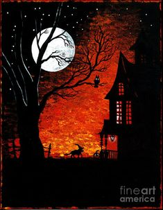 Details About Aceo Print Of Painting Halloween Vintage Style Folk Art Ryta Witch Black Cat Jol - Halloween Makeup Halloween Chat Noir, Casa Halloween, Image Halloween, Halloween Artwork, Halloween Painting, Halloween Prints, Halloween Images, Halloween Wallpaper, Halloween Cards