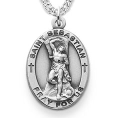 Sterling Silver Catholic Patron Saint Medal  Comes on 24 Inch Stainless Steel Chain with Lobster Claw Clasp  Gift Boxed  Features  Medal  Sterling Silver  7/8 Inch (L)  Chain  24 Inch Stainless Steel with Rhodium Finish  Lobster Claw Clasp  Comes in Jewelry Gift Box