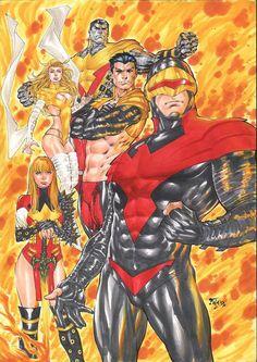 Phoenix Five by Fred Benes Marvel Comics Art, Marvel Comic Universe, Marvel Films, Comics Universe, Marvel Heroes, Comic Book Artists, Comic Artist, Xmen, Spiderman
