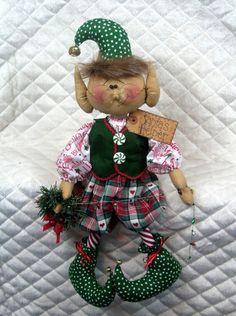"Primitive Raggedy Christmas 19"" ""Seymour The Wreath Maker"" Elf Pattern 321   eBay"