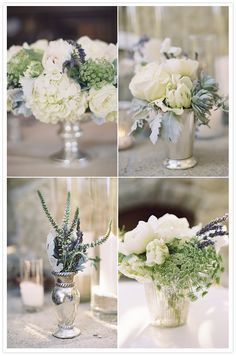white roses and lavender flower arrangements in varied silver containers