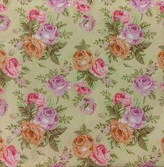 Pastel Roses Wallpaper Decoupage Napkin