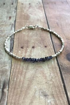 Iolite Bracelet, Hill Tribe Silver Bead Jewelry, Tiny Purple Stone Bracelet