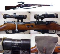 Examples of sniper rifles used during World War II: top-Mosin-Nagant M91/30 used by the Soviet Union and Finland, cntr.Mauser K98k used by Germany, btm lft Lee-Enfield No 4 Mk I (T) used by the UK and Commonwealth, btm lft SMLE Mk III* (HT) used by Australia, btm rgt. Springfield M1903A4 used by the United States