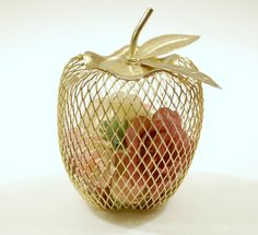 Vintage Gold Tone Metal Mesh Apple by DKVINTAGEGALLERY on Etsy