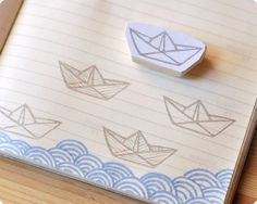 paper boat hand carved rubber stamp - MemiTheRainbow