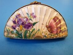 FAN SHAPED BUTTERFLY FLOWER Authentic FRENCH LIMOGES BOX.