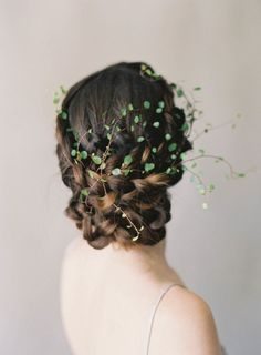 Ethereal fine art wedding hair with greenery hair piece.
