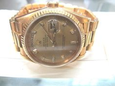 Rolex President Diamond 18k Yellow Gold 133gr Automatic Men's Watch 36mm 18038 #Rolex #Luxury