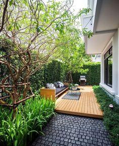 Small Backyard Gardens, Small Backyard Design, Backyard Patio Designs, Home Garden Design, Home And Garden, Backyard Ideas, Garden Decking Ideas, Lanai Design, Garden Ideas