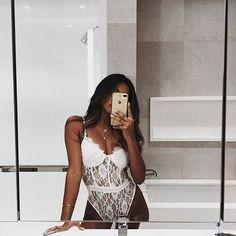 Hollow Out Bodycon Sexy Bodysuit – TopFashionova Sexy Lingerie, Lingerie Selfie, Jolie Lingerie, Lingerie Outfits, Pretty Lingerie, Selfie Sexy, Body Lenceria, Summer Outfits, Cute Outfits